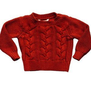 Burnt Orange Cable Knit Sweater